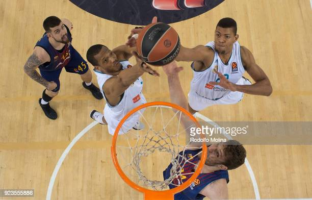 Anthony Randolph #3 of Real Madrid and Walter Tavares #22 in action during the 2017/2018 Turkish Airlines EuroLeague Regular Season game between FC...
