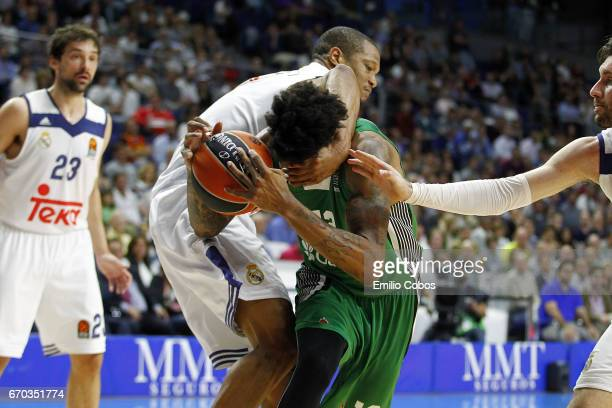 Anthony Randolph #3 of Real Madrid competes with Will Clyburn #12 of Darussafaka Dogus Istanbul during the 2016/2017 Turkish Airlines EuroLeague...