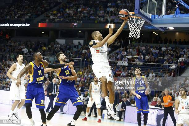 Anthony Randolph #3 of Real Madrid in action during the 2017/2018 Turkish Airlines EuroLeague Regular Season Round 5 game between Real Madrid and...