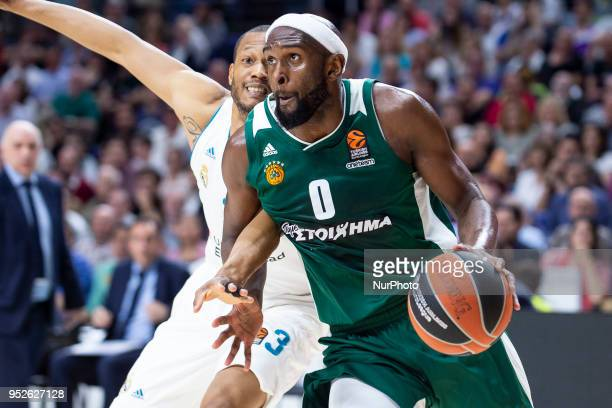 Anthony Randolph #3 of Real Madrid vies Chris Singleton of Panathinaikos Superfood during the Turkish Airlines Euroleague Play Offs Game 4 between...