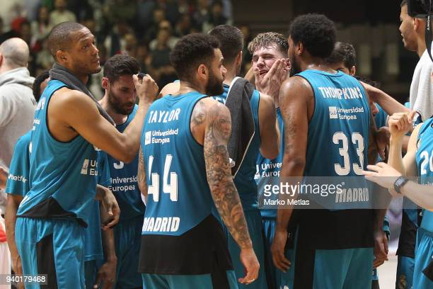 Anthony Randolph #3 Rudy Fernandez #5 Luka Doncic Trey Thompkins #33 Jeffery Taylor of Real Madrid celebrate during the 2017/2018 Turkish Airlines...