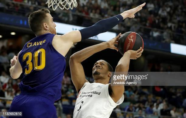 Anthony Randolph of Real Madrid in action against Victor Claver of Barcelona Lassa during the Liga Endesa week 24 match between Real Madrid and FC...