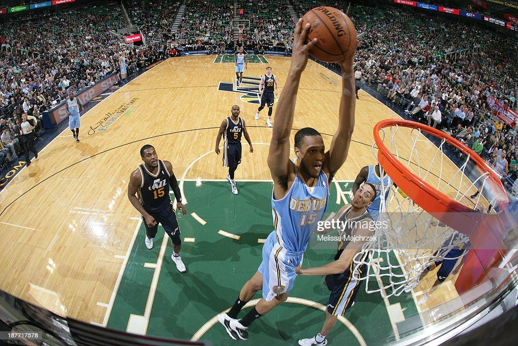 Anthony Randolph #15 of the Denver Nuggets dunks against Rudy Golbert #27 of the Utah Jazz at EnergySolutions Arena on November 11, 2013 in Salt Lake City, Utah.