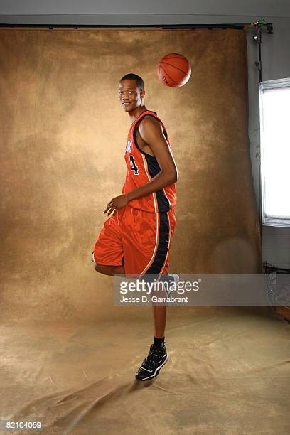 Anthony Randolph of the Golden State Warriors poses for a portrait during the 2008 NBA Rookie Photo Shoot on July 29, 2008 at the MSG Training...