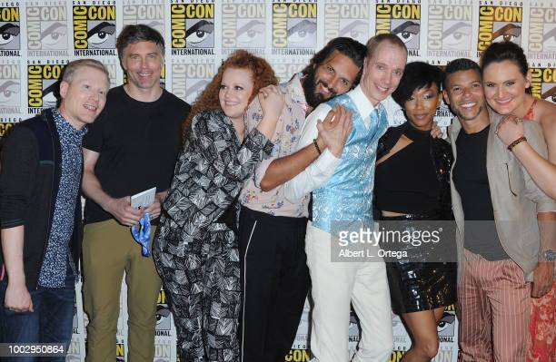 Anthony Rapp Anson Mount Mary Wiseman Shazad Latif Doug Jones Sonequa MartinGreen Wilson Cruz and Mary Chieffo attend the 'Star Trek Discovery' panel...