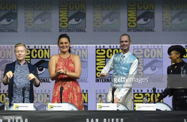 Anthony Rapp Mary Chieffo Doug Jones and Sonequa MartinGreen speak onstage at the 'Star Trek Discovery' panel during ComicCon International 2018 at...