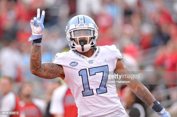 Anthony RatliffWilliams of the North Carolina Tar Heels reacts after scoring a touchdown against the North Carolina State Wolfpack during their game...