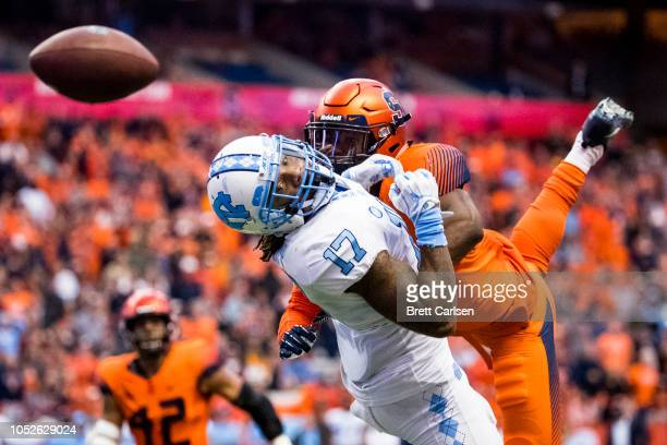 Anthony RatliffWilliams of the North Carolina Tar Heels watches helplessly after a pass intended for him is broken up by Ifeatu Melifonwu of the...