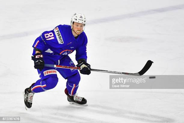 Anthony Rech of France during the EIHF Ice Hockey Four Nations tournament match between France and Slovenia on November 9 2017 in Cergy France