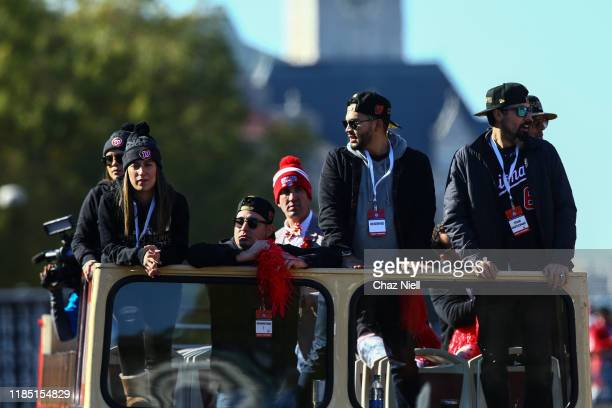 Anthony Rendon celebrates during the Washington Nationals World Series victory parade on November 02 2019 in Washington DC