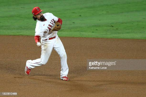 Anthony Rendon of the Los Angeles Angels throws to second base for a triple play to end the game in the ninth inning against the Kansas City Royals...