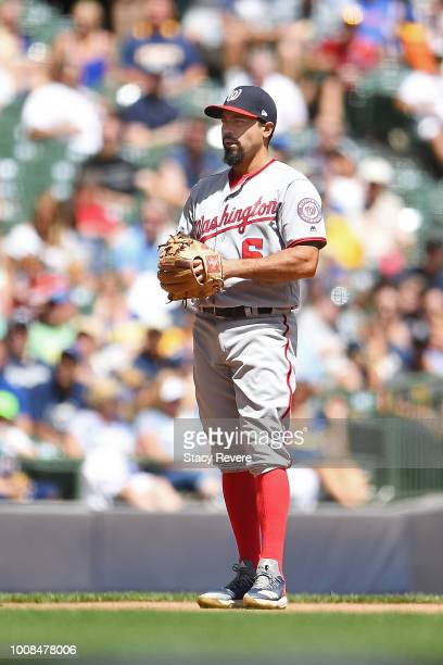 Anthony Rendon of the Washington Nationals anticipates a pitch during a game against the Milwaukee Brewers at Miller Park on July 25 2018 in...