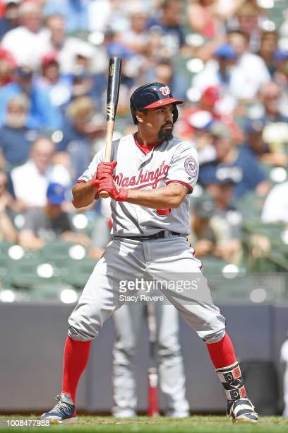 Anthony Rendon of the Washington Nationals at bat during a game against the Milwaukee Brewers at Miller Park on July 25 2018 in Milwaukee Wisconsin