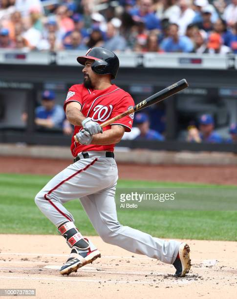 Anthony Rendon of the Washington Nationals bats against the New York Mets during their game at Citi Field on July 15 2018 in New York City