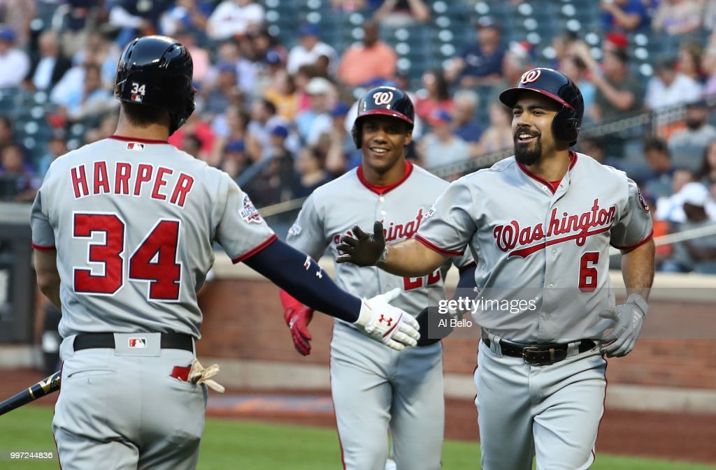 Anthony Rendon #6 of the Washington Nationals celebrates his two run home run against the New York Mets in the first inning with Bryce Harper #34 during their game at Citi Field on July 12, 2018 in New York City.