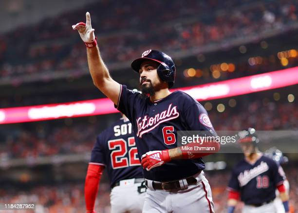 Anthony Rendon of the Washington Nationals celebrates his tworun home run against the Houston Astros during the seventh inning in Game Six of the...