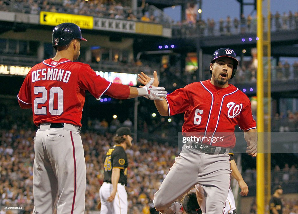 Anthony Rendon #6 of the Washington Nationals celebrates with Ian Desmond #20 after scoring on a RBI single int eh fifth inning against the Pittsburgh Pirates during the game at PNC Park May 24, 2014 in Pittsburgh, Pennsylvania.