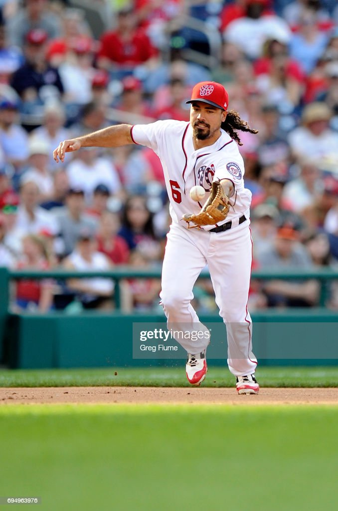 Anthony Rendon #6 of the Washington Nationals commits an error in the eighth inning against the Texas Rangers at Nationals Park on June 11, 2017 in Washington, DC. Delino DeShields #3 (not pictured) was safe on the play.