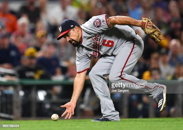 Anthony Rendon of the Washington Nationals fields a ball off the bat of Jordy Mercer of the Pittsburgh Pirates during the fifth inning at PNC Park on...