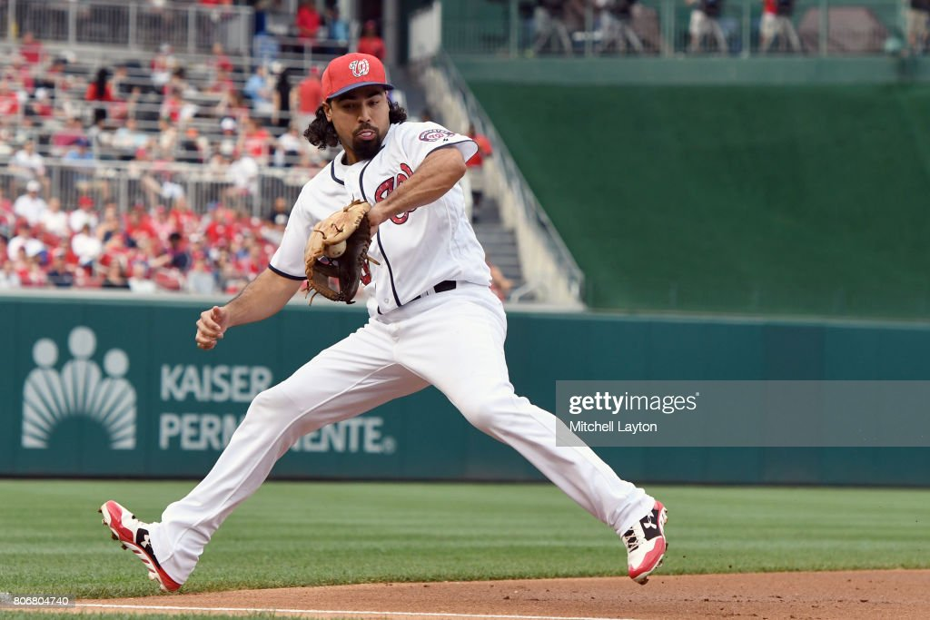 Anthony Rendon #6 of the Washington Nationals fields a ground ball hit by T.J. Rivera #54 (not pictured) of the New York Mets in the second inning during a baseball game at Nationals Park on July 3, 2017 in Washington, DC.