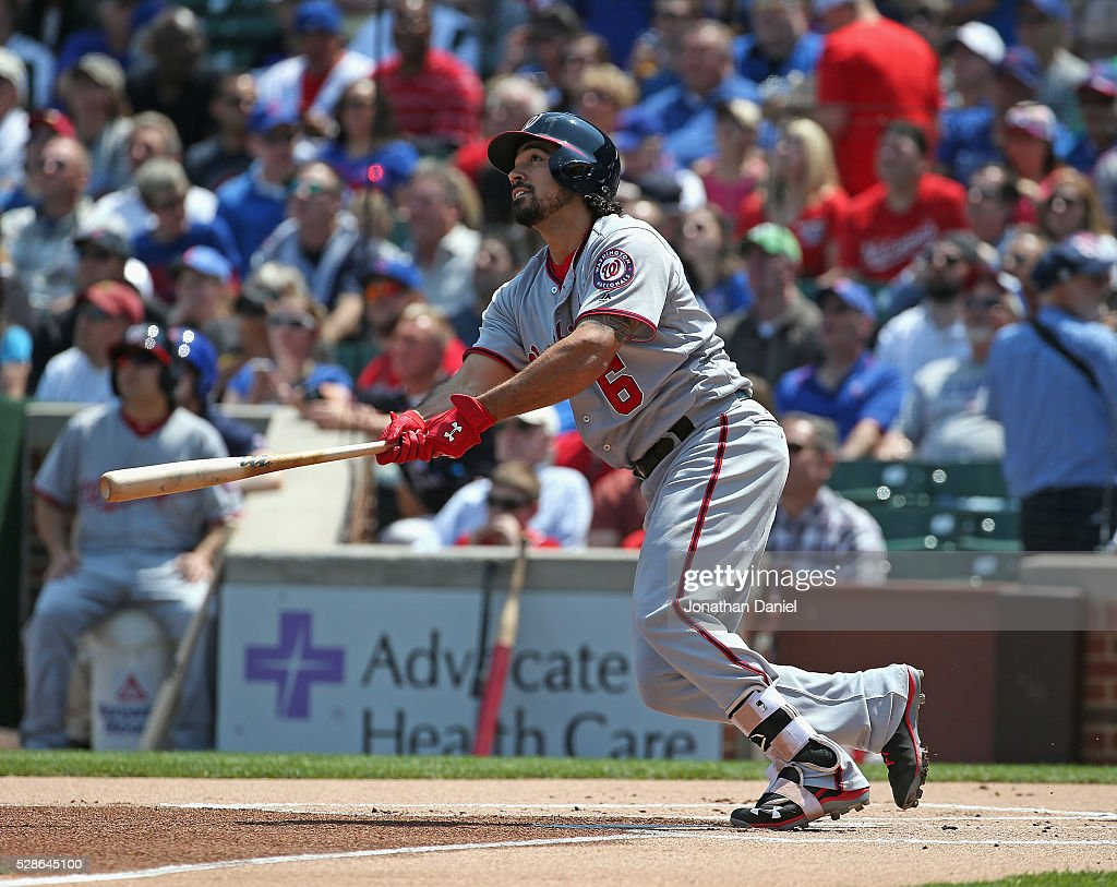 Anthony Rendon #6 of the Washington Nationals follows the flight of his first inning solo home run against the Chicago Cubs at Wrigley Field on May 6, 2016 in Chicago, Illinois.