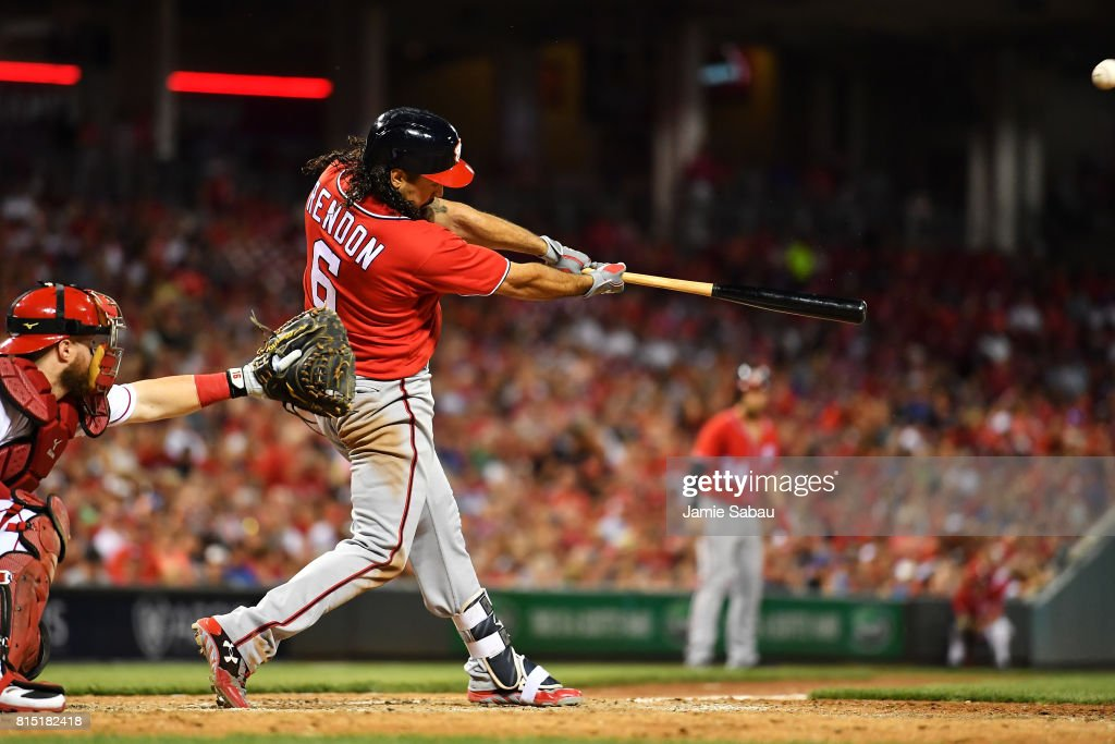 Anthony Rendon #6 of the Washington Nationals hits a grand slam home run in the seventh inning against the Cincinnati Reds at Great American Ball Park on July 15, 2017 in Cincinnati, Ohio. Washington defeated Cincinnati 10-7.