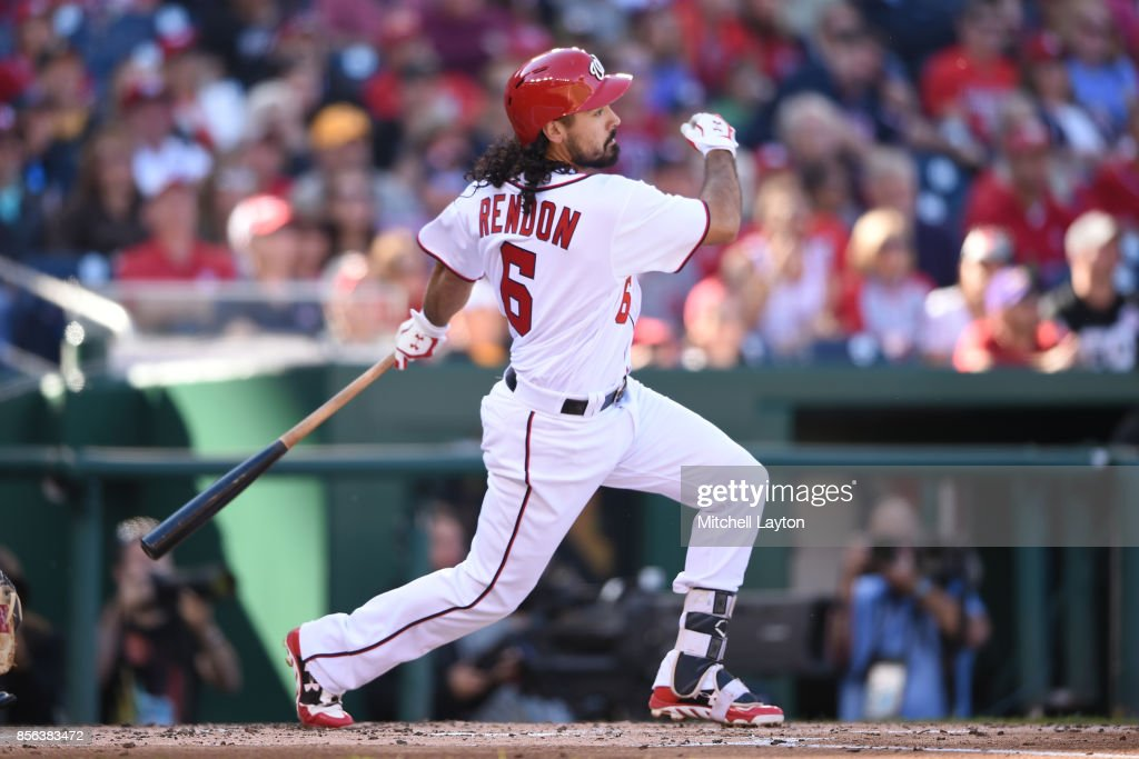 Anthony Rendon #6 of the Washington Nationals hits a three run home run in the first inning during a baseball game against the Pittsburgh Pirates at Nationals Park on October 1, 2017 in Washington, DC.