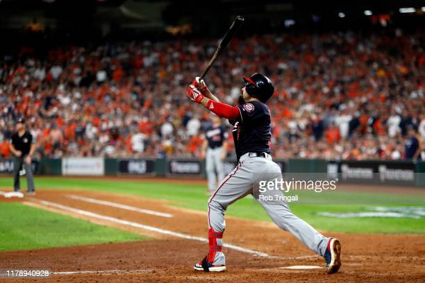 Anthony Rendon of the Washington Nationals hits a two-run home run in the event inning during Game 6 of the 2019 World Series between the Washington...