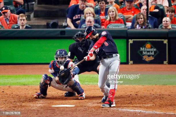 Anthony Rendon of the Washington Nationals hits a tworun home run against the Houston Astros during the seventh inning in Game Six of the 2019 World...