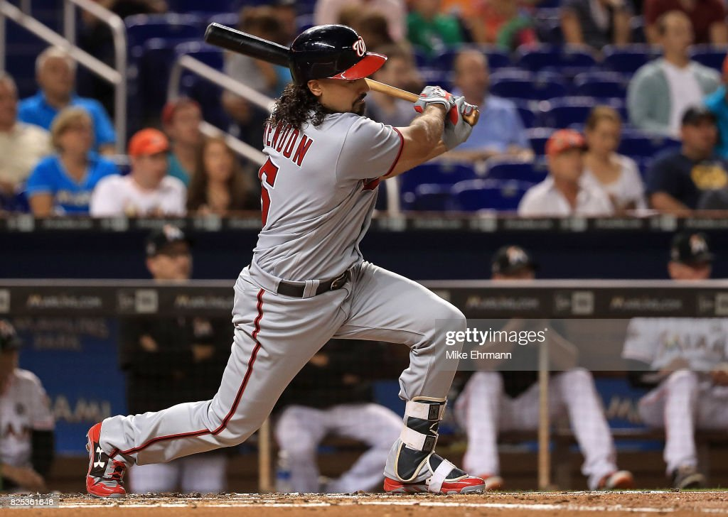 Anthony Rendon #6 of the Washington Nationals hits an RBI double in the second inning during a game against the Miami Marlins at Marlins Park on August 1, 2017 in Miami, Florida.