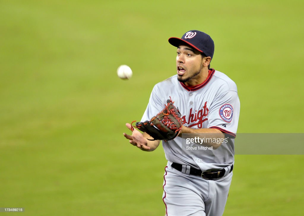 Anthony Rendon #6 of the Washington Nationals makes a catch in the ninth inning against the Miami Marlins at Marlins Park on July 14, 2013 in Miami, Florida.