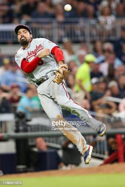Anthony Rendon of the Washington Nationals makes a throw to third base in the sixth inning during the game against the Atlanta Braves at SunTrust...