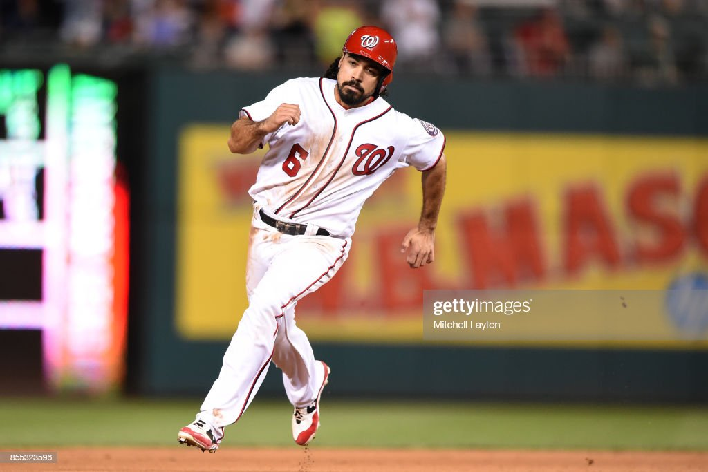Anthony Rendon #6 of the Washington Nationals rounds second and scores on a triple by Alejandro De Aza #17 of the Washington Nationals in the seventh inning during a baseball game against the Pittsburgh Pirates at Nationals Park on September 28, 2017 in Washington, DC.