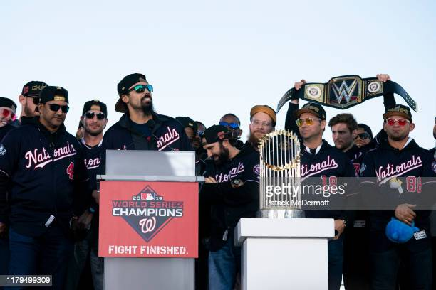 Anthony Rendon of the Washington Nationals speaks during a parade to celebrate the Washington Nationals World Series victory over the Houston Astros...