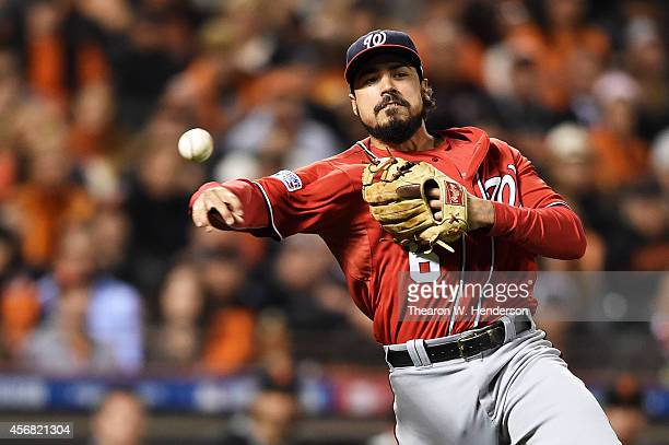 Anthony Rendon of the Washington Nationals throws out Gregor Blanco of the San Francisco Giants in the seventh inning during Game Four of the...