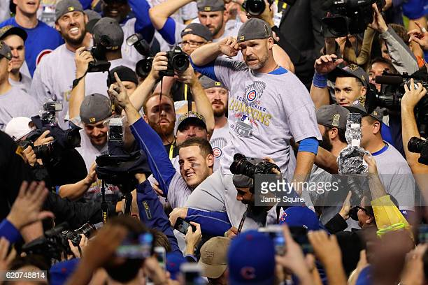 Anthony Rizzo and David Ross of the Chicago Cubs celebrate after defeating the Cleveland Indians 87 in Game Seven of the 2016 World Series at...