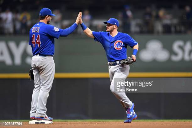 Anthony Rizzo and Ian Happ of the Chicago Cubs celebrate a victory over the Milwaukee Brewers at Miller Park on September 5 2018 in Milwaukee...