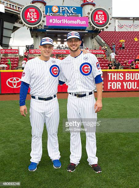 Anthony Rizzo and Kris Bryant of the Chicago Cubs pose for a photo on the field before the 86th MLB AllStar Game at Great American Ball Park in...