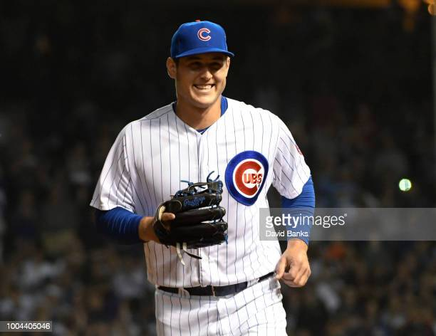 Anthony Rizzo first baseman of the Chicago Cubs smiles after he pitched and got the final out against the Arizona Diamondbacks during the ninth...