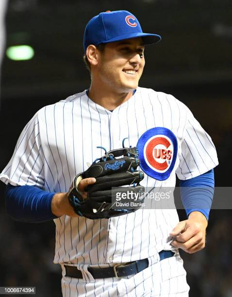 Anthony Rizzo first baseman of the Chicago Cubs smiles as he pitched and got the final out against the Arizona Diamondbacks during the ninth inning...