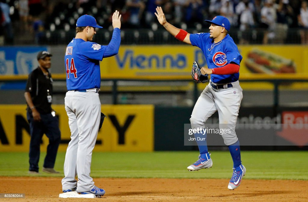 Anthony Rizzo #44 of the Chicago Cubs (L) and Jon Jay #30 celebrate their win over the Chicago White Sox at Guaranteed Rate Field on July 26, 2017 in Chicago, Illinois. The Chicago Cubs won 8-3.