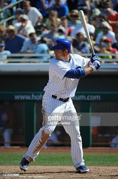 Anthony Rizzo of the Chicago Cubs at bat against the Milwaukee Brewers at HoHokam Stadium on March 14 2012 in Mesa Arizona