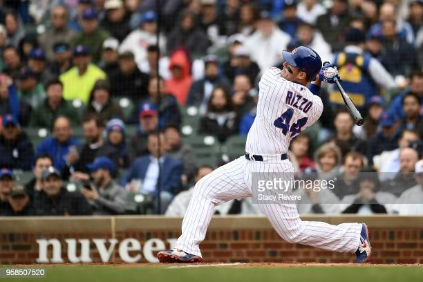 Anthony Rizzo of the Chicago Cubs at bat during a game against the Chicago White Sox at Wrigley Field on May 11 2018 in Chicago Illinois The Cubs...