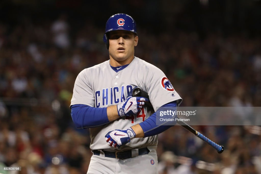 Anthony Rizzo #44 of the Chicago Cubs at bat during the MLB game against the Arizona Diamondbacks at Chase Field on August 11, 2017 in Phoenix, Arizona. The Cubs defeated the Diamondbacks 8-3.
