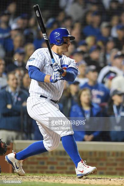 Anthony Rizzo of the Chicago Cubs at bat during the National League Wild Card game against the Colorado Rockies at Wrigley Field on October 2 2018 in...