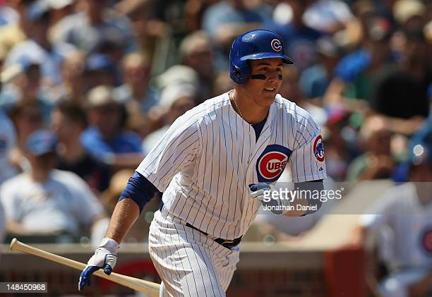 Anthony Rizzo of the Chicago Cubs bats against the Arizona Diamondbacks at Wrigley Field on July 15 2012 in Chicago Illinois The Cubs defeated the...