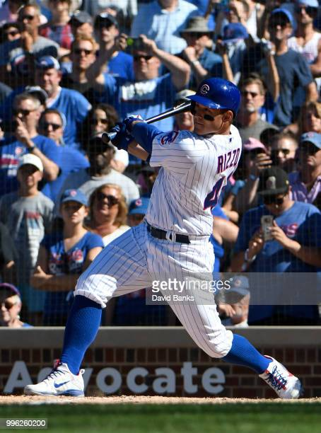 Anthony Rizzo of the Chicago Cubs bats against the Cincinnati Reds on July 8 2018 at Wrigley Field in Chicago Illinois The Cubs won 65 in ten innings
