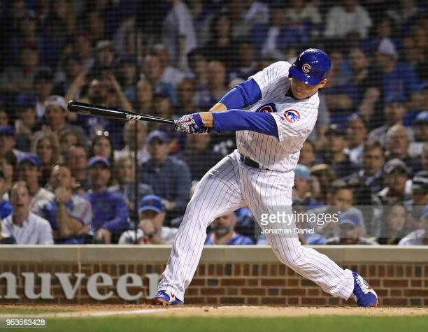 Anthony Rizzo of the Chicago Cubs bats against the Colorado Rockies at Wrigley Field on April 30 2018 in Chicago Illinois The Cubs defeated the...