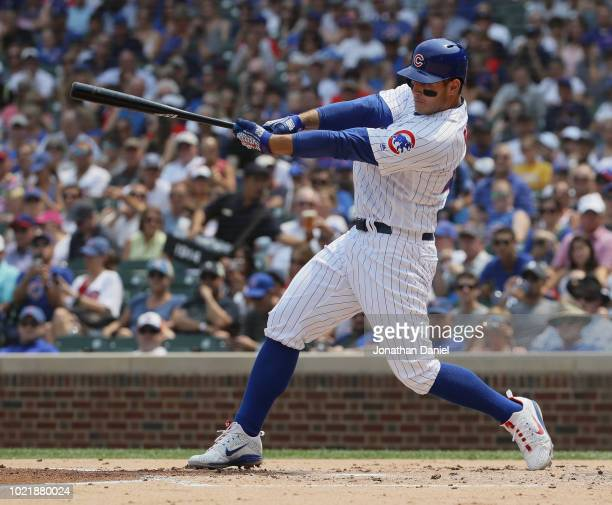 Anthony Rizzo of the Chicago Cubs bats against the Milwaukee Brewers at Wrigley Field on August 14 2018 in Chicago Illinois