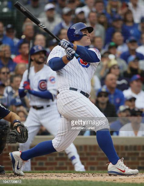 Anthony Rizzo of the Chicago Cubs bats against the Milwaukee Brewers during the National League Tiebreaker Game at Wrigley Field on October 1 2018 in...